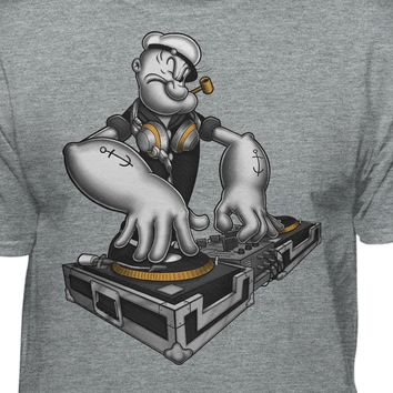 DJ Popeye The Sailor Man Spinning On The Turntable Official T-Shirt