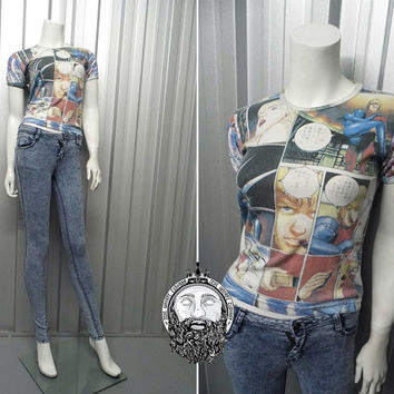 Vintage 90s Club Kid All Over Print Anime T Shirt Graphic Print Kawaii Clothing Sci Fi Alien Shirt Rave Wear Cyber Goth Japanese Cartoon