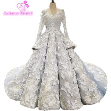New Collection Plus Size Full Beading Crystal 3d Flower Luxury Bridal Gowns Waves Long Tail Ball Gown Light Blue Wedding Dresses