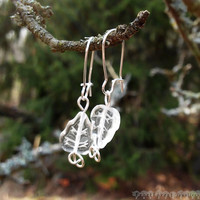 Czech Glass Leaf Earrings in Silver