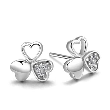 Three Leaf Clover 18K White 925 Sterling Silver Stud Earrings