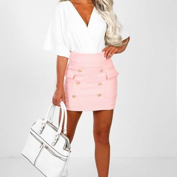 Steal Her Pink Tweed High Waisted Mini Skirt