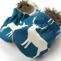antler baby shoes deer baby stag baby shoes buck hunting baby shoes orange and teal organic baby shoes with antlers baby shoes with deer boy