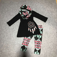 3pieces with scarf outfits baby girls dream catcher