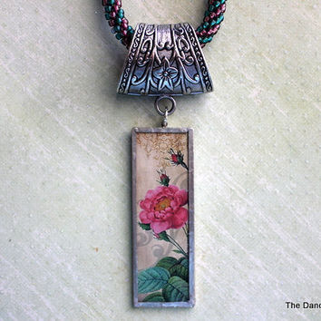 Kumihimo Altered Art Flower Micro Slide Necklace