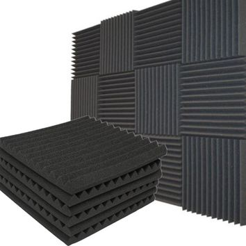 "1/4/12 Packs Soundproofing Acoustic Studio KTV Wedge Foam Tiles Wall Panels 12"" x 12"""