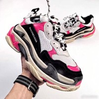 Balenciaga Trending Women Comfortable Contrast Color Sport Running Shoe Couple Sneakers White Black Pink I
