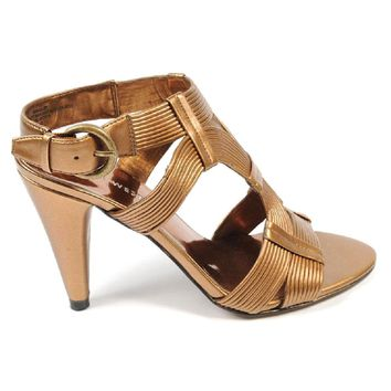 Nine West Womens Ankle Strap Sandal NWGALLAZY DARK GOLD