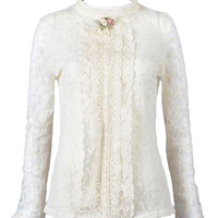 Beige Beaded Long Sleeve Stand Collar Lace Shirt - Choies.com