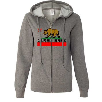 California Republic Borderless Bear Flag Black Text Ladies Zip-Up Hoodie