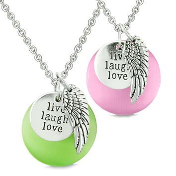 Guardian Angel Wing Live Laugh Love Amulets Couples Pink Green Simulated Cats Eye Necklaces