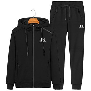 Under Armour autumn and winter new hooded casual long-sleeved trousers sportswear two-piece black