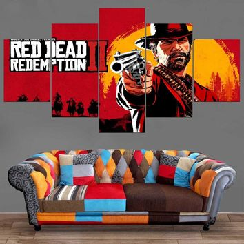5 Pieces Canvas Art Red Dead Redemption 2 Western Action Games Adventure Painting Home Docor HD Modular Picture Artwork Framed