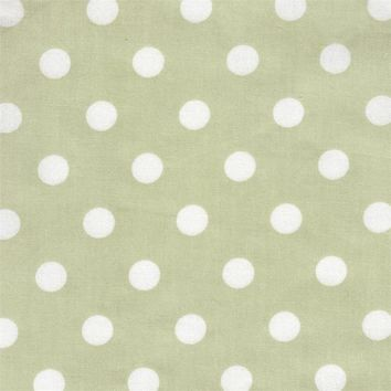 White on Green Dot Fabric by the Yard | 100% Cotton