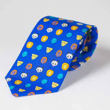 Cobalt blue silk tie animals pattern. Fun Men's Necktie Lion Cheetah Panda Seal Gorilla Print. Nature lover tie gift. Men's tie handmade