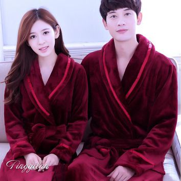 Dressing Gowns For Women And Men Bath Robes Nightgown Winter Warm Flannel Pajamas Couples Bathrobe Kimono Robe Sleepwear