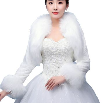 In Stock Wedding Accessory Faux Fur Black White Custom Made Bridal Coat Wedding Bolero Stoles Jacket Shrug Wraps LF23