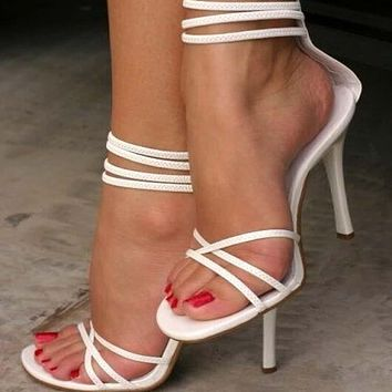 White Gladiators Leather Strappy Ankle Sandals