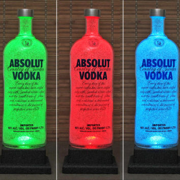 1.75 Liter Absolut Vodka Color Changing Remote Control RGB LED Bottle Lamp Man Cave Light