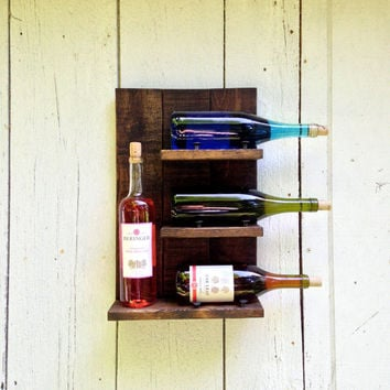 Four Bottle Wine Rack with vintage Iron Nails