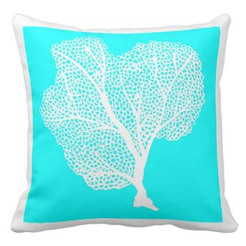 Fresh Aqua Blue And White Coral Pillow