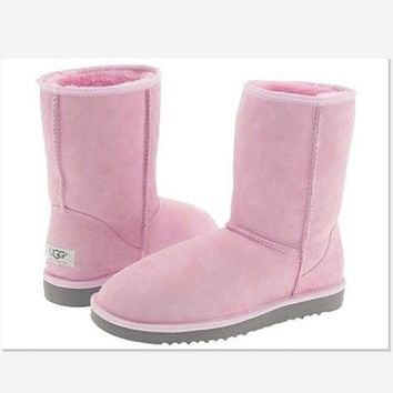 2018 Original UGG Short boots antiskid warm lazy sheep fur simple ugg boots canister boots Fresh Pink