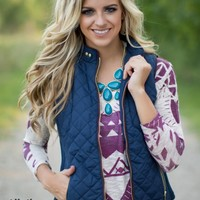 Catch You Later Fur-Lined Vest in Navy