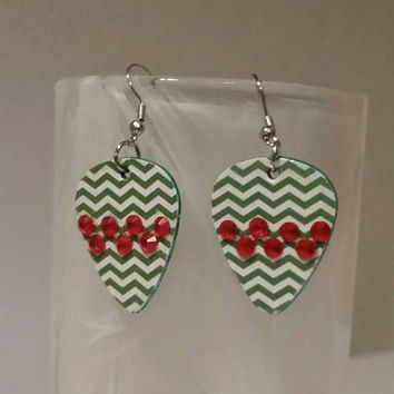 Guitar Pick Earrings - Betsy's Jewelry- Christmas  Jewelry - Holiday - Chevron Print - Upcycled Jewelry
