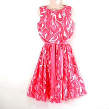 1960's Mod Dress Crepe Fabric with Psychedelic Pink Swirl Print