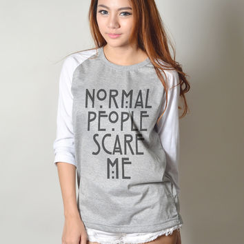Normal People Scare Me American Horror Story Movie Graphic Baseball Tee