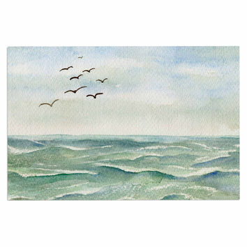 "Cyndi Steen ""Flock Flying Low"" Blue Coastal Decorative Door Mat"