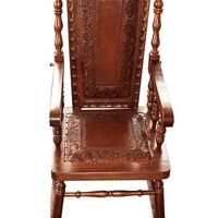 Traditional Wood Leather Rocking Chair - Nobility | NOVICA