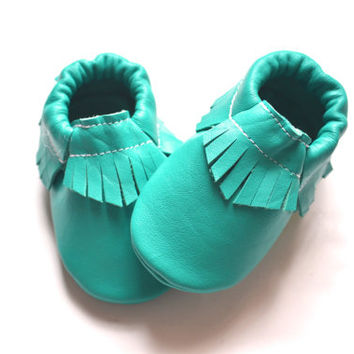 Emerald Green Moccasins, Baby Moccs, Baby/Toddler Shoes, Genuine Leather, Emerald Green Moccs, Moccasins,Baby Moccasins, Leather Shoes