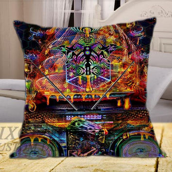 Bassnectar Holography on Square Pillow Cover