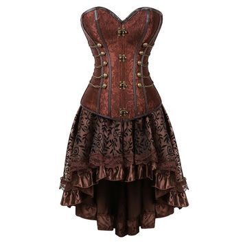 New arrival Women Steampunk Overbust Corset Dress Vintage Gothic Victorian Brocade Corset Skirt Set Halloween Costume Plus Size