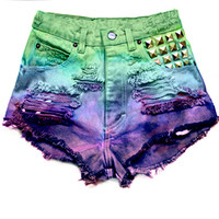 High Waisted Denim Shorts - Blue Rainbow Studded Shorts
