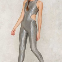 Jaded London Metal Day Long Cutout Jumpsuit
