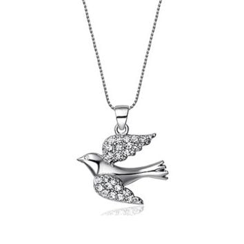Swarovski element sterling dove necklace