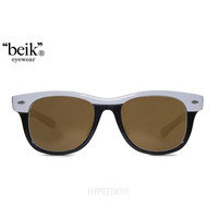 """beik"" eyewear : Charles [White X Black/Dark Brown Lens]"