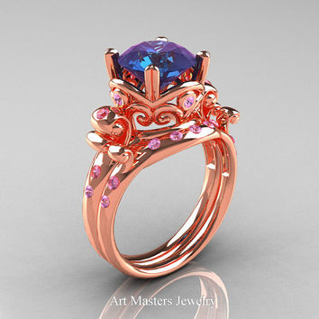 Modern Vintage 14K Rose Gold 3.0 Ct Alexandrite Light Pink Sapphire Wedding Ring Bridal Set R167S-14KRGLPSAL