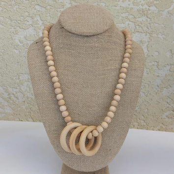 Teething Necklace. Natural Wood Ring Style. Unique Baby Shower Gift Idea for New Mom, Toddler Teething Item, Nursing Mother Necklace