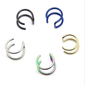 ac DCCKO2Q Stainless Steel Nose Rings Ear Studs Fake Septum Piercing Gold/Silver/Black Nose Hoop Fake Nose Rings&Studs Women Body Jewelry