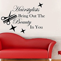 Hairstylists Bring Out The Beauty In You Wall Decal Quote Beauty Salon Decor Woman Makeup Fashion Cosmetic Hairdressing Wall Decals Design Interior C500