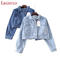 2018 Spring Women Denim Jacket Plus Size Vintage Cropped Short Denim Coat Long-Sleeve Jeans Coat Cardigan Light/Deep Blue A423