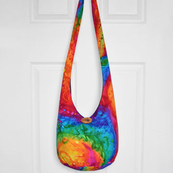Hobo Bag Boho Bag Hippie Purse Cross Body Bag Sling Bag Bohemian Bag Hobo Purse Hippie Bag Handmade Purse Rainbow Slouch Bag Handmade Purse