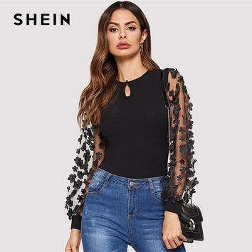 SHEIN Black Floral Keyhole Front 3D Applique Contrast Mesh Sleeve Slim Fit Tee Women Round Neck Top 2019 Spring Elegant T Shirt