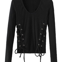 Black Long Sleeve Lace Up Detail Top