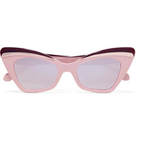 Karen Walker - Babou cat-eye acetate and silver-tone mirrored sunglasses