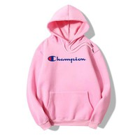 PEAPDQ7 The New Champion Print Pink Casual Loose Hoodies Pullover Sweater
