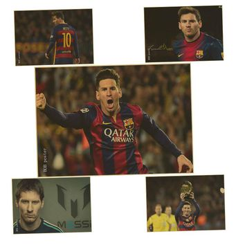 Soccer star Messi poster Bar Pub Cafe Vintage old Paper Retro Poster Antique Wall Sticker Home Decoration